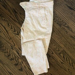 Gap white skinny khakis with pink dots